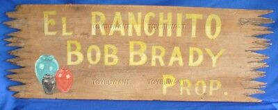Vintage Advertising Sign El Ranchito Wood Painted Primitive Brady Pottery Mexico