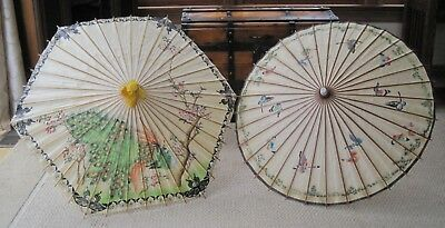 Two (2) Vintage Rice Paper Japanese Bamboo Umbrellas - Hand Painted