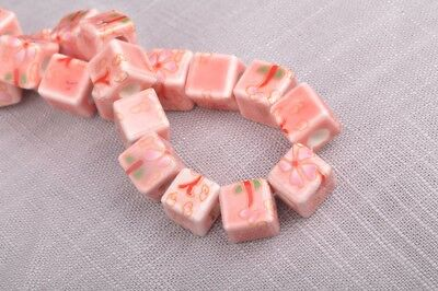 NEW 10pcs 10mm Cube Square Ceramic Spacer Loose Beads Flowers Pattern #23
