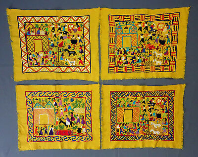 Set of 4 Vintage Mexican Primitive Folk Art Hand Embroidery Fabric TextilePanels