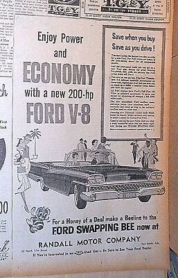 1959 newspaper ad for Ford - Economy with 200 h.p. Ford V-8, Convertible