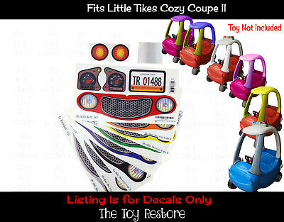 Replacment Decal Sticker Fits Little Tikes Cozy Coupe II Car Toy Color choice