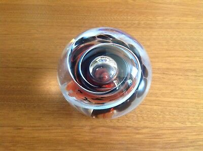 "Vintage 1989 Selkirk Glass Paperweight ""Nimbus"" Art Glass Signed & Dated"