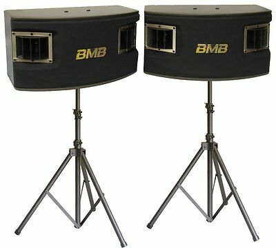 "BMB CSV-450 500W 10"" 3-Way Karaoke Speakers with  2 Heavy Duty Tripod Stands"