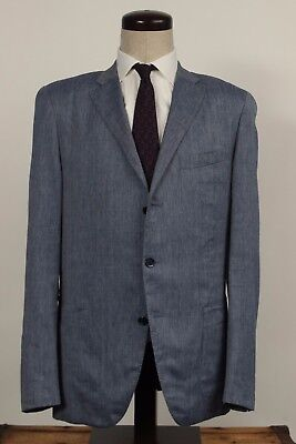Caruso Italy 56 46 Blue Herringbone Linen Wool Silk 3 Button Sport Coat Blazer
