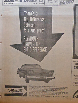 Large 1959 newspaper ad for Plymouth - Difference between talk and proof