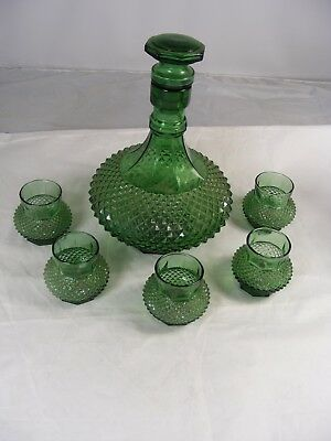 Vintage Green Diamond Pattern Decanter with Stopper & 5 Glasses