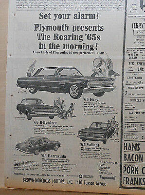 Large 1964 newspaper ad for Plymouth - 1965 Fury, Belvedere, Valiant, Barracuda
