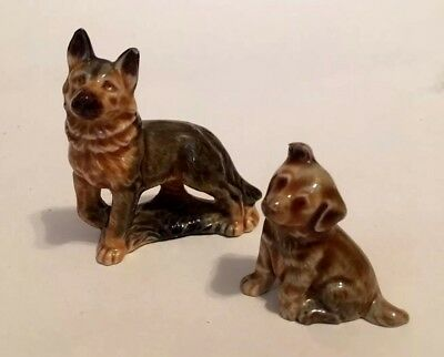 Vintage Wade Whimsies China Dog and Puppy Figurines: German Shepherd, Alsatian