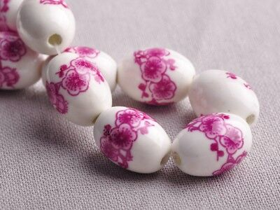 NEW 10pcs 18X12mm Oval Ceramic Flowers Pattern Loose Spacer Beads Findings #2