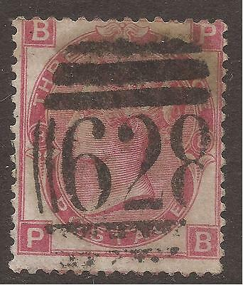 GREAT BRITAIN. QV. 1872. 3d ROSE. PLATE 8. ROSE WTMK.  USED POSTMARK 628 – PREST