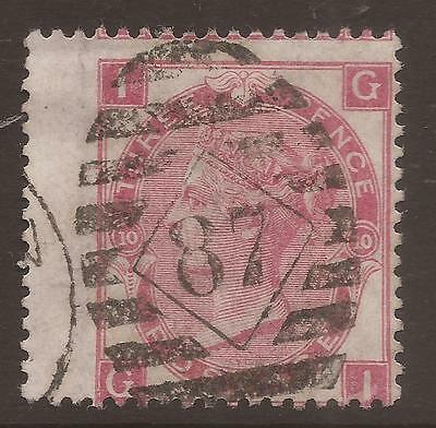 GREAT BRITAIN. QV. 3d ROSE PLATE 10. POSTMARK 87. LETTERS IG. USED.