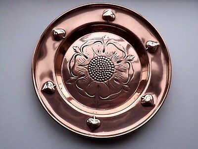 Antique Arts & Crafts Tudor Rose Style Copper Dish - WMF c.1910