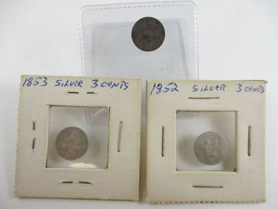 Lot of 3 Three Cent Silver Coins 1852, 1853 & 1854