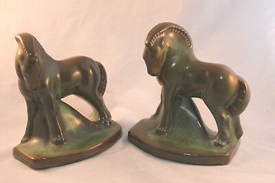 Frankoma Vintage Horse Bookends in Green