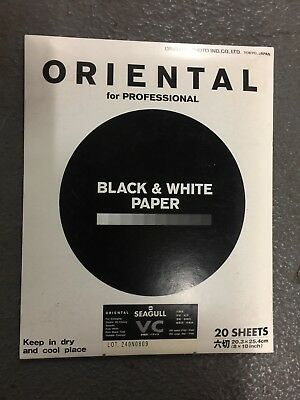 "Oriental Seagull VC Black & White Paper, 20 sheets, 8"" x 10"", smooth, pure white"