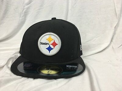 Pittsburgh Steelers Nfl Official On Field New Era 59Fifty Fitted Blk Hat cap  Nwt 082aae89bd02