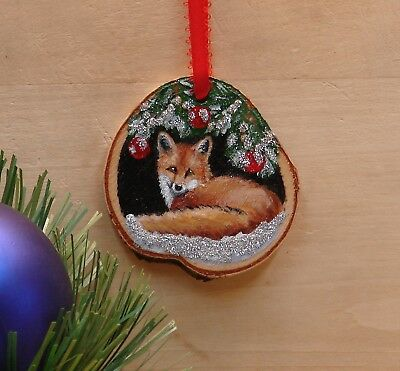 Hand Painted Wood Slice Christmas Ornament Red Fox Glitter Snow Cabin Decor 22
