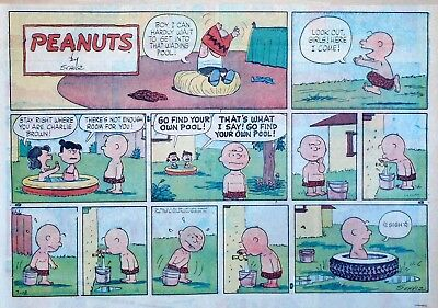 Peanuts by Charles Schulz - large half-page color Sunday comic - July 12, 1959