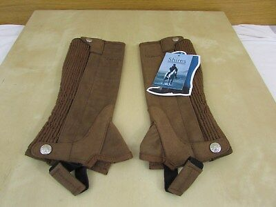 Shires Ssl Synthetic Suede Half Chaps - Brown - Child Small - Bnwt -Horse Riding