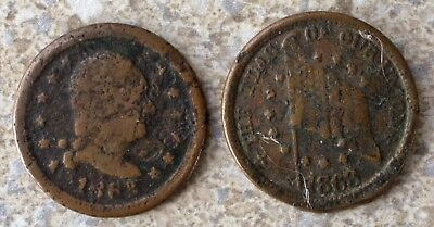 Two 1863 Civil War Tokens 2 Cull Copper Coins As is