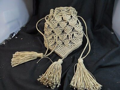 old sailor made ladies hand bag,6'' x 8 1/2''.folk art textile,macrame.