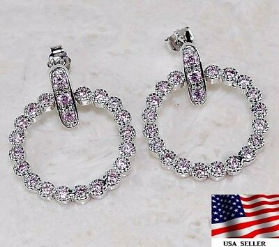 2CT Pink Sapphire 925 Solid Genuine Sterling Silver Earrings Jewelry