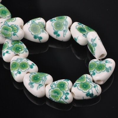 NEW 10pcs 14mm Ceramic Heart Flowers Loose Spacer Beads Findings Pattern #3