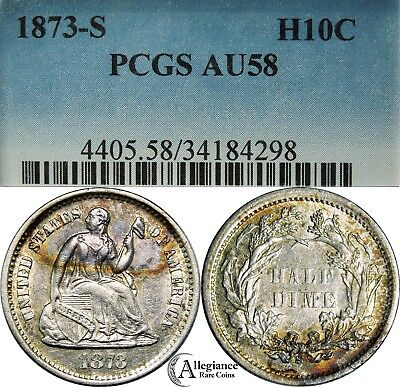 1873-S H10c Seated Liberty Half Dime PCGS AU58 rare old type coin rainbow toned