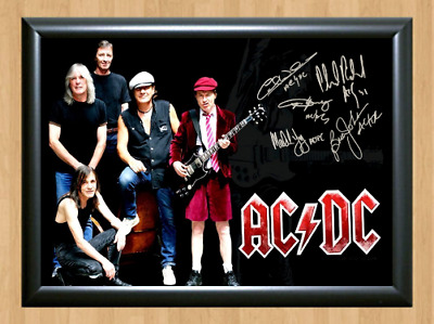 ACDC Angus Brian Young Signed Autographed A4 Photo Poster Music Memorabilia cd