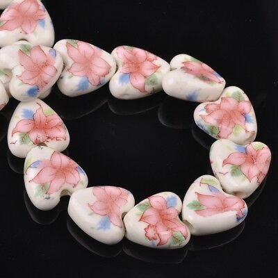 NEW 10pcs 14mm Ceramic Heart Flowers Loose Spacer Beads Findings Pattern #25