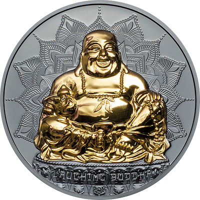 Palau 2017 Laughing Buddha 10 Dollars 2oz Piedfort Silver Coin,Proof