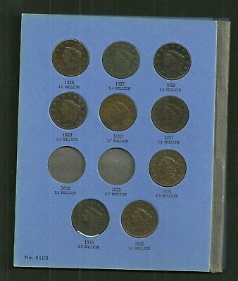 Large Cent Collection 1826-1856 25 Different Dates In Whitman Folder Vg-Vf Nice!