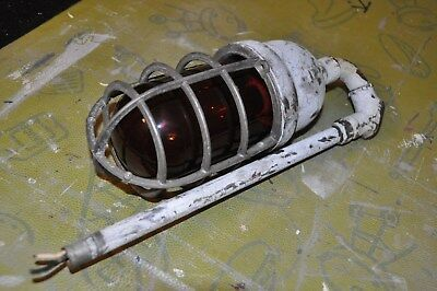 Vintage CROUSE HINDS Explosion Proof Industrial Cage Light Red Gobe