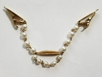 Vintage Goldtone Faux Pearl Chain Ladies Scarf Sweater Guard Clip Estate Jewelry