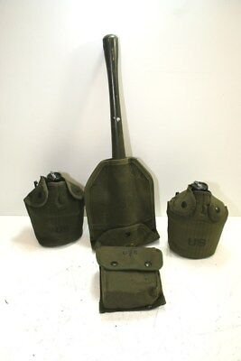 Lot Of Vintage Military Accessories, Incl. Foldable Shovel, Canteen, & Med Kit
