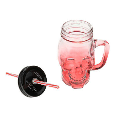 480ml 250ml Skull Glass Cup Hot Milk Coffee Mug Beer Cup Drinking with Straw