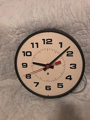 "15"" SIMPLEX Time Recorder ELECTRIC SCHOOL CLOCK Works No Glass"