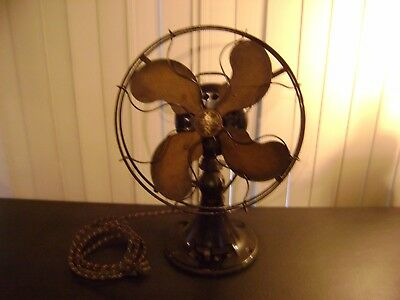 Antique Emerson 4 Brass Blade 3 Speed Oscillating Table Fan WORKS GREAT!