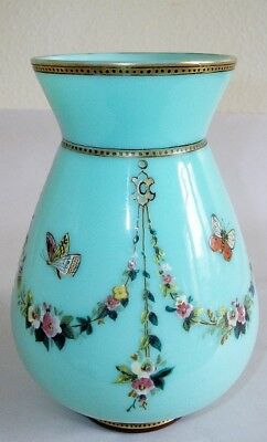 Victorian Thomas Webb & Sons Enameled Turquoise Green Opaline Art Glass Vase