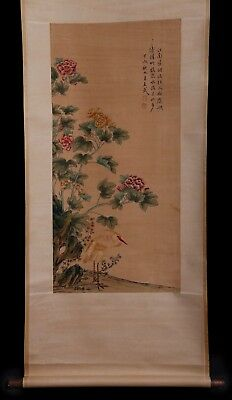Exquisite Gorgeous Rare Old Vintage China Scroll Hand Painting Flower Mark KK704