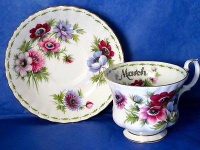 Royal Albert Flower Of The Month March ANEMONES Bone China Cup & Saucer