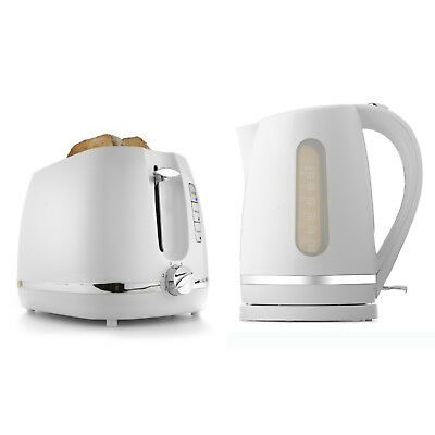 2 Slice Toaster or 1.7L Kettle White Set Water Boiler Bread Automatic Combo Kit
