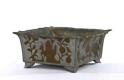 Early 20C Chinese Pewter & Copper Planter Bowl Figure Figurine Flower Mk