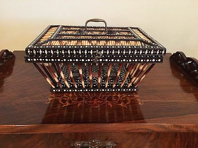 Rare Antique Ebony Porcupine Quill Basket Box With Hinged Lid English Victorian