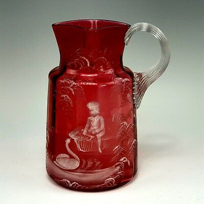 Antique Paneled Cranberry Glass Pitcher w/ Mary Gregory Decoration Boy & Swan