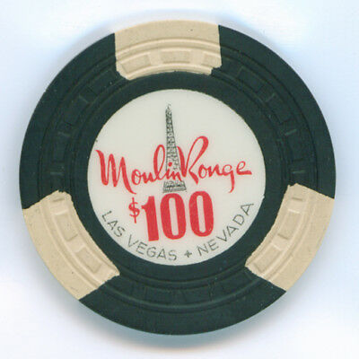 $100 Moulin Rouge Las Vegas (Westside) Gaming Chip TCR#: N1940 Small Tower