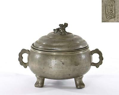 Early 20C Chinese Pewter Cover Bowl Pot Tureen Censer Calligraphy Goat Finial