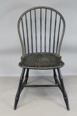 A Very Rare 18Th C Bowback Windsor Sidechair Old Black Paint Over Original Red