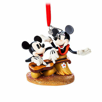 Disney Store 2017 Mickey Minnie Mouse Hawaii Hula Sketchbook Holiday Ornament